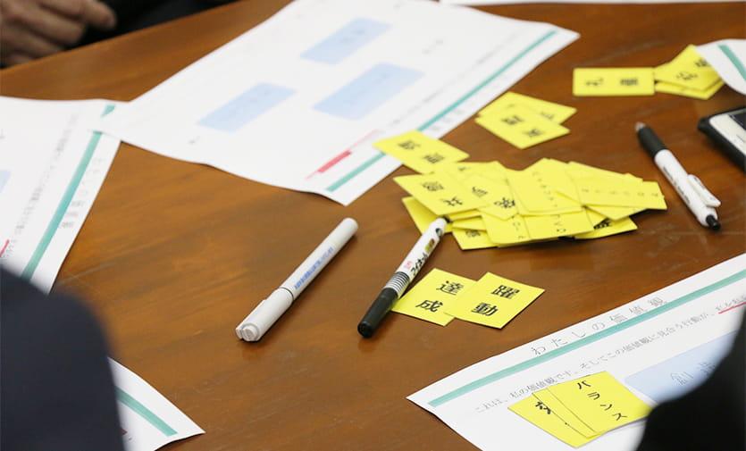 テーブルに置かれた達成や躍動と書かれた黄色の紙