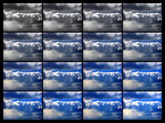 空と雲の写真を見比べるために並べた画像