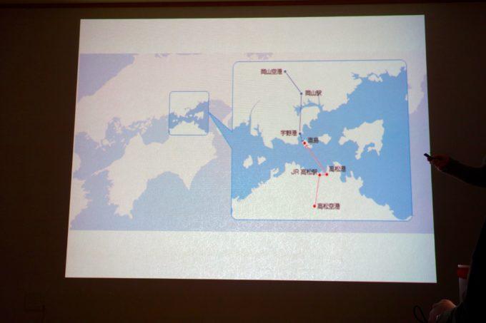 プロジェクターに投影された玉野市と直島の位置関係を表した地図