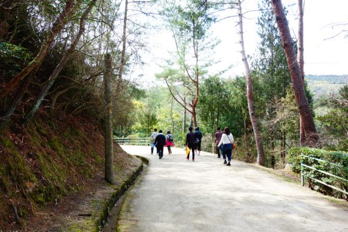 綺麗に整備された遊歩道を歩く研修生の後ろ姿