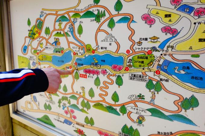設置された園内のロードマップを見る研修生