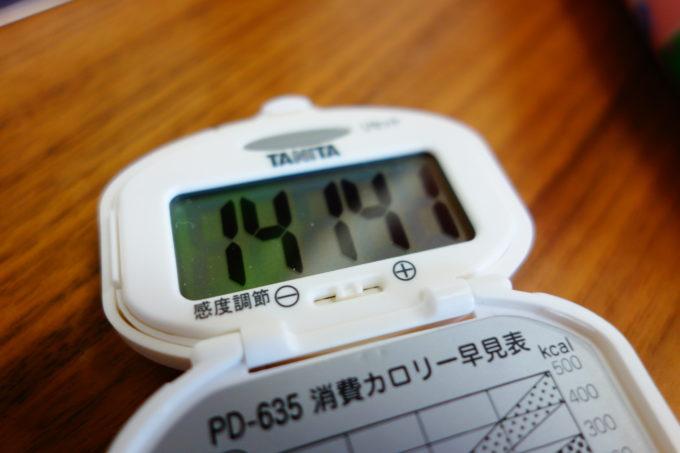 消費したカロリーが表示されたカロリー計
