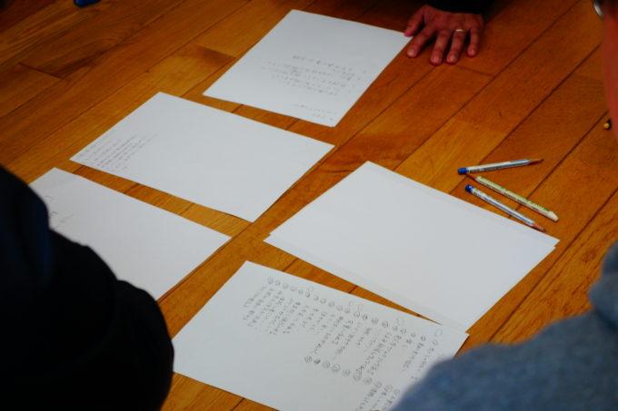 床に並べた様々な意見が書かれた紙