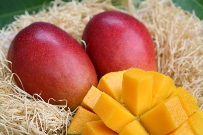 綺麗に切れ目を入れたマンゴー