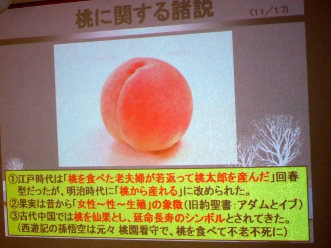 プロジェクターに投影された桃に関する逸話