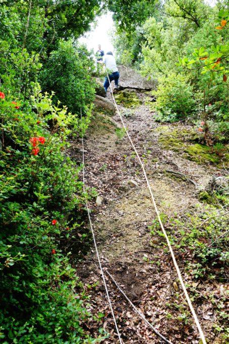 山道に設置れ多ロープを使い上る女性