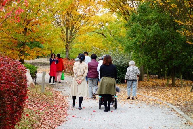 公園内を散策する参加者