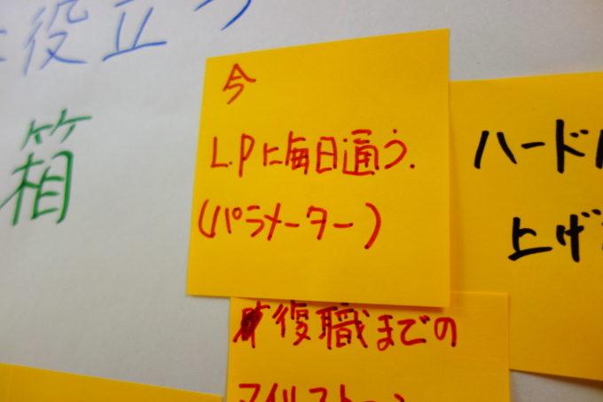 黄色のメモが貼られたホワイトボード
