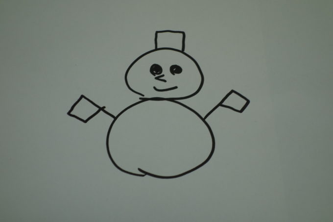 紙に書かれた雪だるま