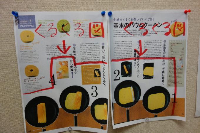 壁に貼られたレシピ