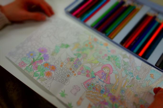 塗り絵と色鉛筆