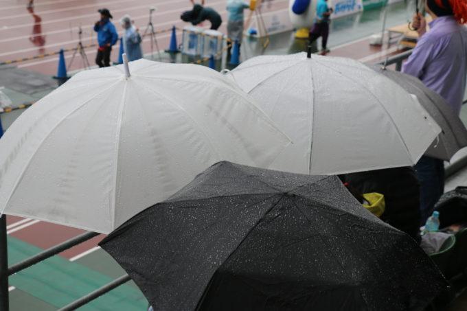 傘をさして応援