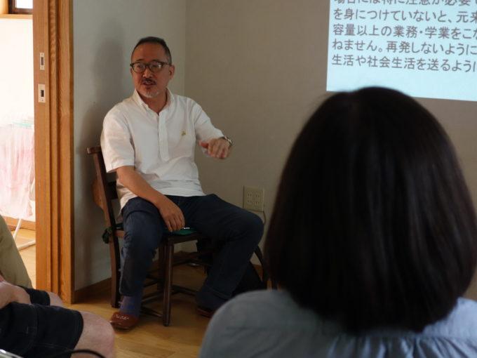 講座で話をする青井医院長