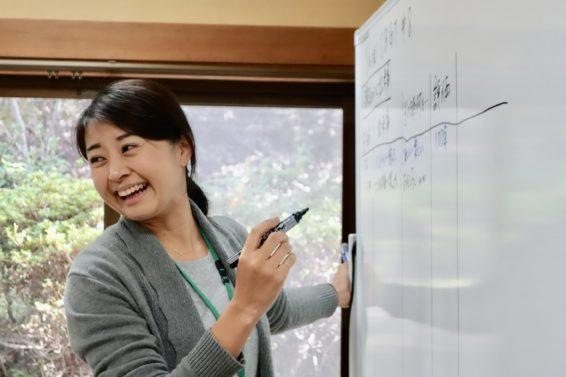 笑顔でホワイトボードに書き込むリトルプラススタッフ